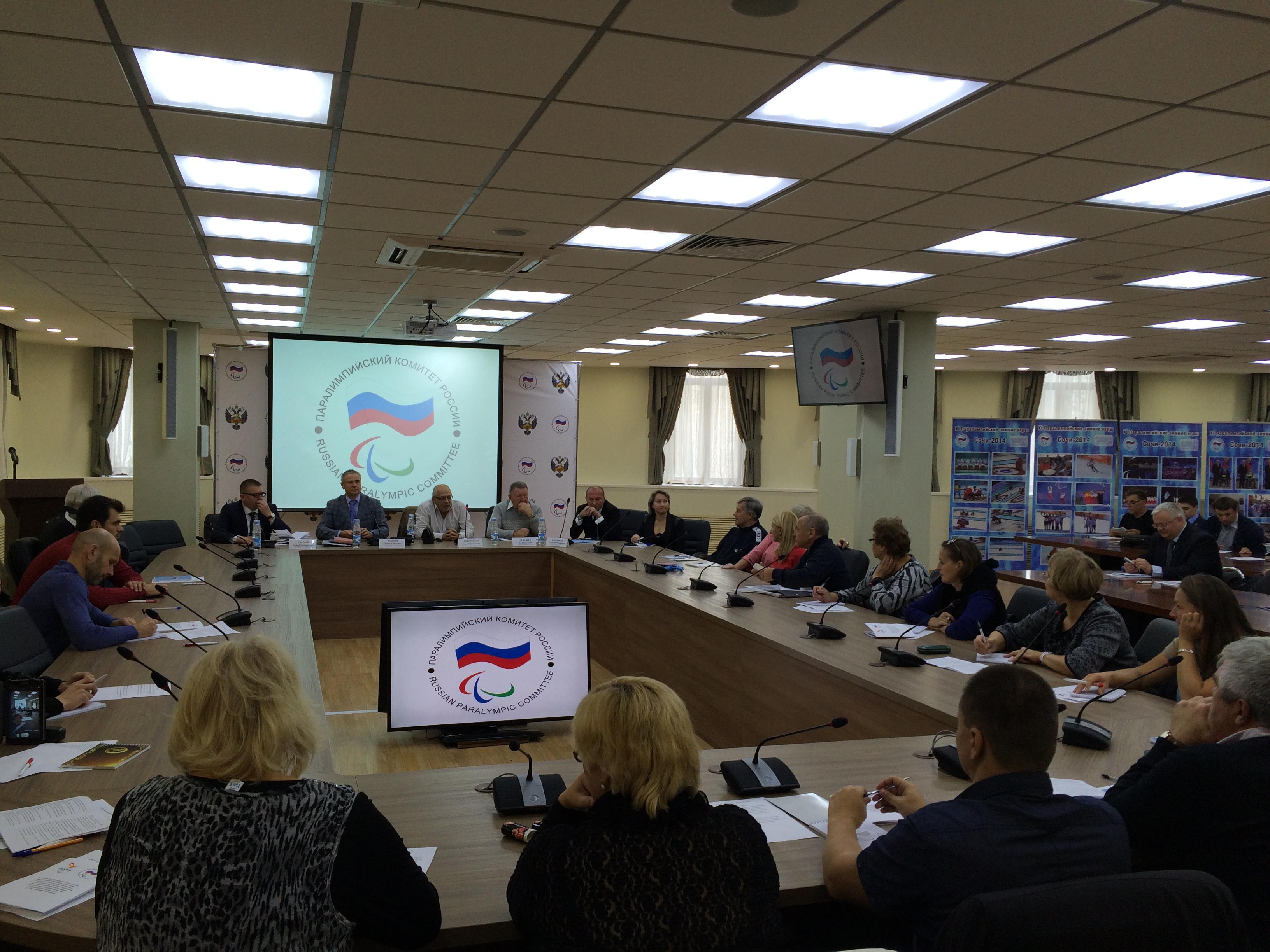П.А. Рожков в зале Исполкома ПКР провел семинар по вопросам использования современных методик и технологий спортивной подготовки и восстановления спортсменов с учетом специфики г. Рио-де-Жанейро как места проведения XV Паралимпийских летних игр 2016 года