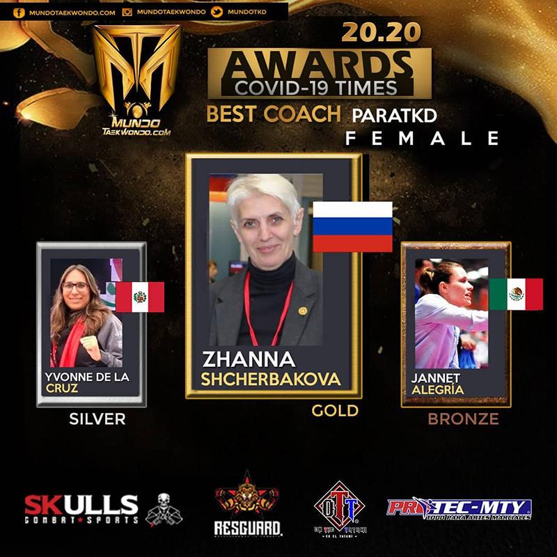 Ж.В. Щербакова стала лауреатом всемирного конкурса MundoTaeKwonDo Covid-Times в номинации «Лучший тренер паратхэквондо» среди женщин