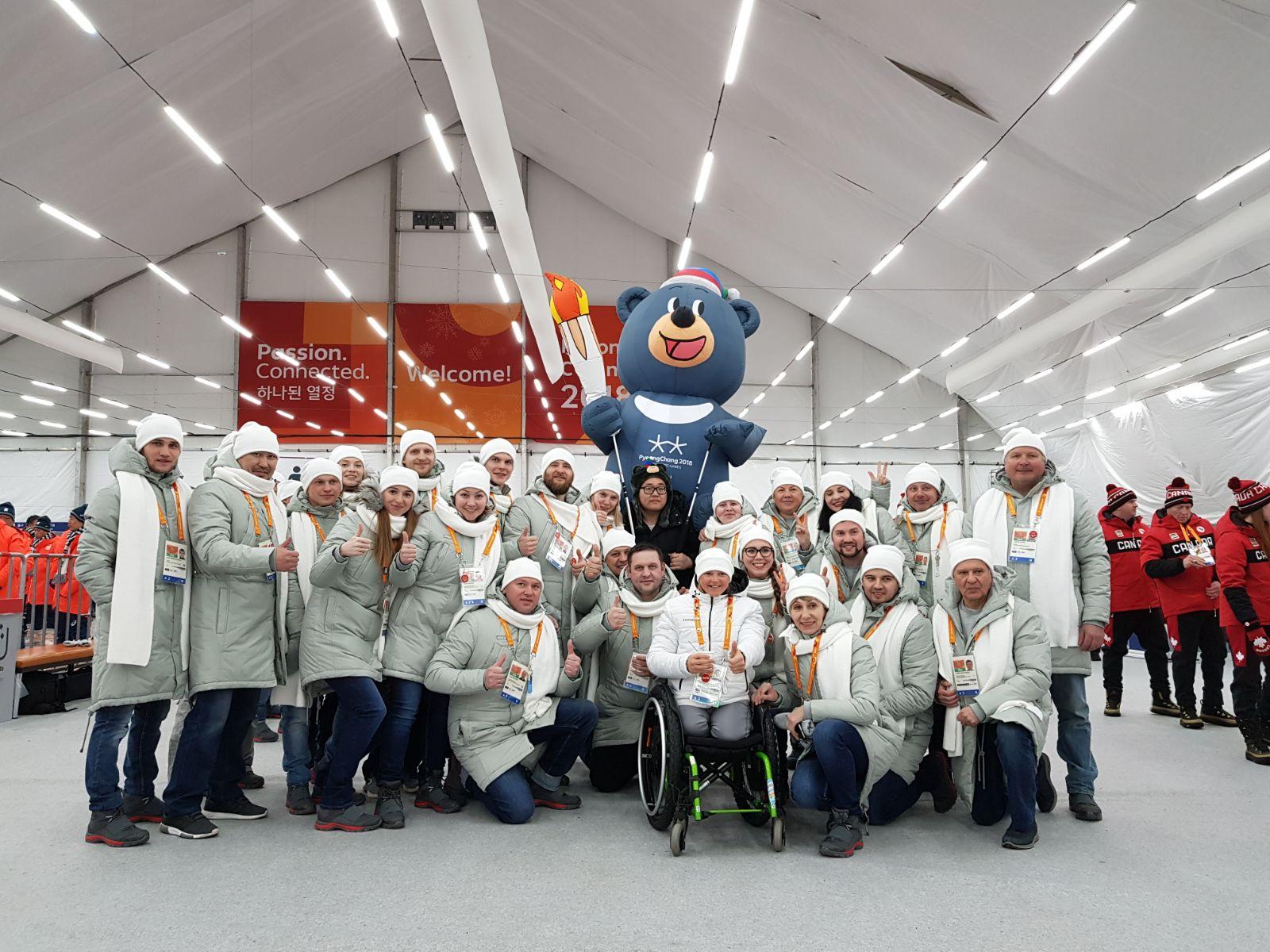 Российские спортсмены и персонал спортсменов приняли участие в торжественной церемонии открытия XII Паралимпийских зимних игр 2018 года в г. Пхенчхан (Республика Корея)